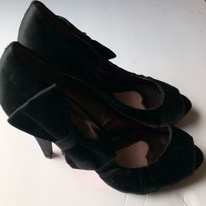 Paris Hilton Shoes - Paris Hilton | Black Satin Bow Tie Heel 8